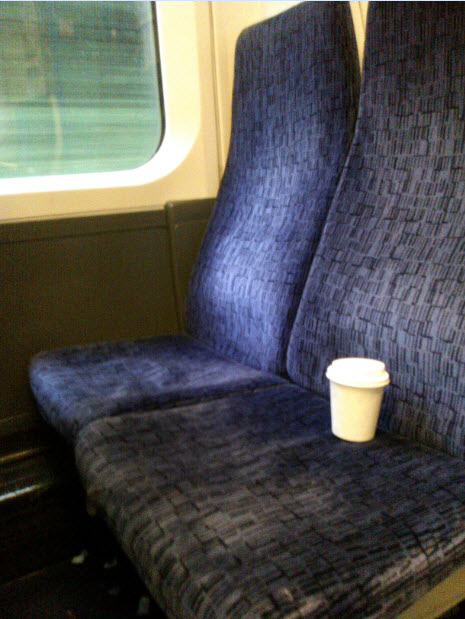Melcrum on the train home.  He is now back where he belongs, safe and well.