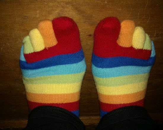 Me and my yoga socks.  They are magical.  Ok, they keep my feet warm, but that's pretty magical when you are part toad.