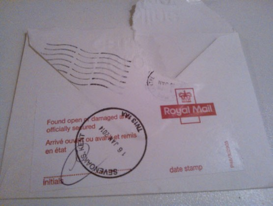 16th January:  Thank you, Royal Mail, for letting me know that my letter had been opened....would have been nice if you'd included it rather than delivering an empty envelope though.  Humph!