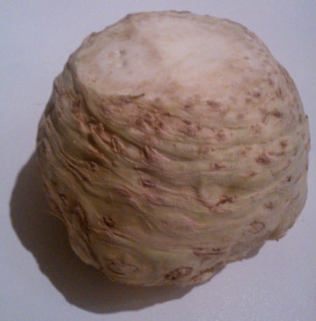 19th January 2014:  Celeriac:  The vegetable that hates to be peeled.  (But once you've managed it, tastes delicious in a slow cooked celeriac and pear soup.