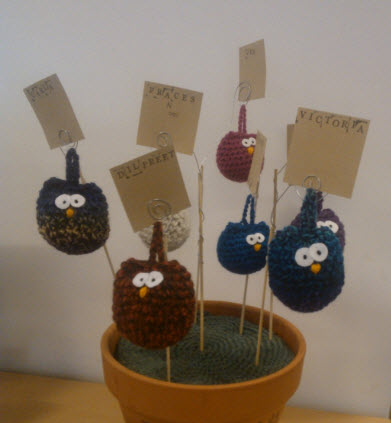 24th February 2014: The big boss of my team asked for creative things to brighten our corner of the office, so I crocheted The Wise Owls of Internal Communications - one for each of us.  And then it was pointed out to me that I spelled the big boss's name wrong.  Maybe I should demote my owl...