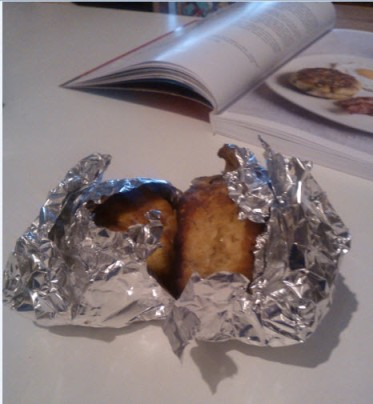 27th February 2014:  I made griddle scones and saved some for Mum and Dad.  I wrapped them up, left the room and returned to find Norman cat had unwrapped them and was having a quick snack.