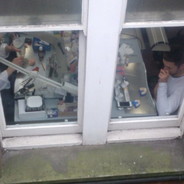 11th March 2014:  People making teeth in a Harley Street basement.