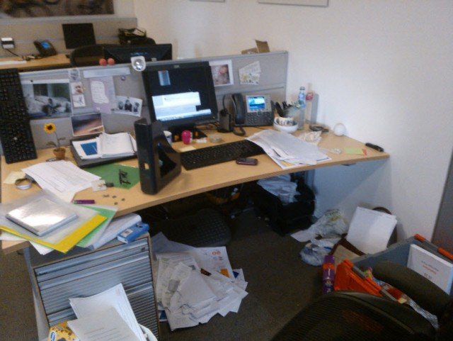 Packing up my desk.  I have A LOT of stuff.