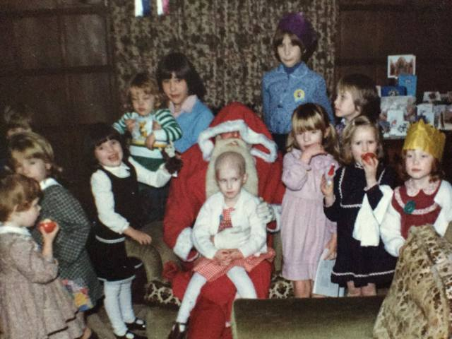 Christmas party - Cassian on Father Christmas's lap. Me guarding on the right...