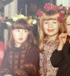 March 1980 - age 3 Cassian left, me right Our first school 'spring festival' where we had to wear a crown of flowers and sing spring songs at a hall full of parents