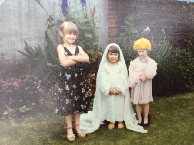 June 1981 Dressing up, Cassian's sister is the bride - we're the bridesmaids, obviously.