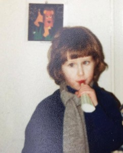 March 1982 Cassian, not terribly enthusiastically blowing a party blower