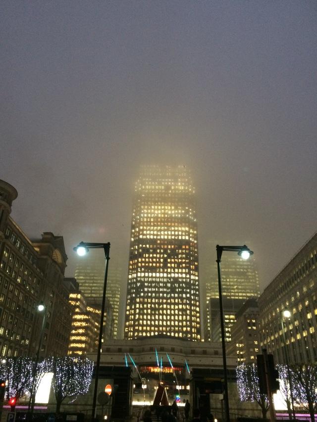 Canary wharf in the fog